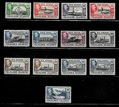 Falkland Islands KGVI SG 146-58  Pictorial Issue ½d to 1/- Mint Never Hinged OG