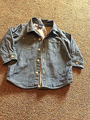 Gorgeous Baby Gap Lined Denim Shirt 12-18 Months Boys New Without Tags