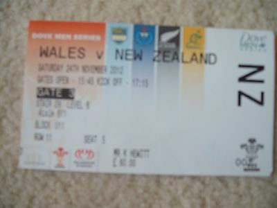 Wales V New Zealand Rugby Ticket 2012