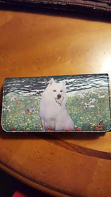 American Eskimo Dog Rhinestone Collar Checkbook Wallet Clutch New
