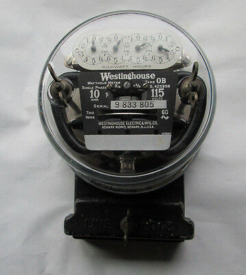 Vintage 1930s Westinghouse Type OB Electric Meter 10 Amp 115 Volts