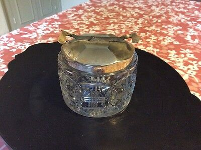 Vintage glass lidded sugar bowl with integral working Pascalls tongs in chrome