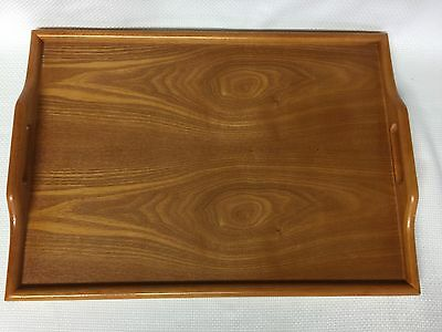 "Vintage X-Large Wooden Serving Tray with Handles 20"" x 14.25"""