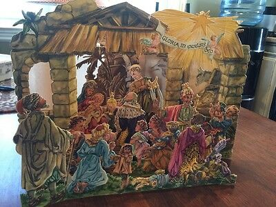 ANTIQUE Fold out Three dimensional 3 D  Card Continental Nativity West Germany