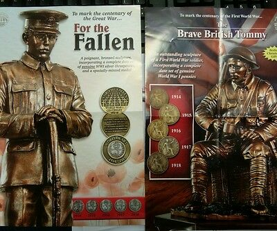 Danbury mint bronzed brave Tommy & Fallen statue and coin