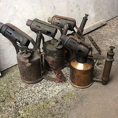 Lot of 4 x Vintage Brass Blow Torches