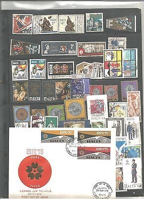 Malta 50 Stamps As Per Scan,+ Fdc Expo 70     29-V-70