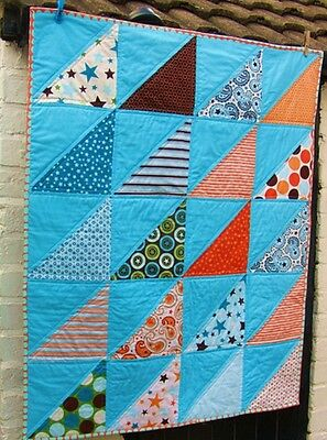 Handmade Patchwork Baby Quilt Boy Girl Bright Unique Triangle Nursery Converse