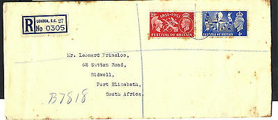 1951 GB Registered Plain Festival of Britain FDC to South Africa