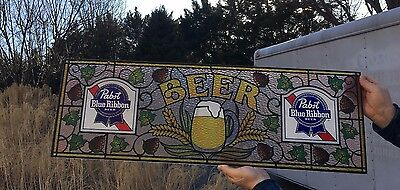 Vintage Pabst Blue Ribbon Beer Stained Plexiglass Window Sign Pub Man Cave Bar