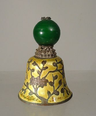 Antique Chinese Mandarin Hat Finial Silver Plate Enamel Bell Prunus Peking Glass