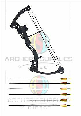ASD Black Avenger Junior Archery Compound Bow Set With 8 Arrows & Accessories