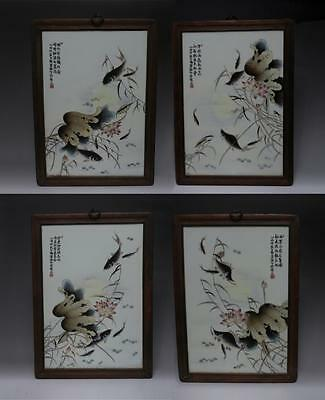 Four Fine Antique Chinese Famille Rose Wall Plaque Dengbishan Signed