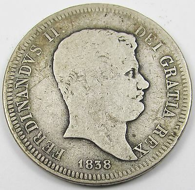 ITALIAN STATES (TWO SICILIES) - FERDINAND II 60 GRANA SILVER COIN dated 1838