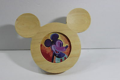 Mickey Mouse Wood Wooden Picture Photo Frame Head Shaped Disney Circle Hole EUC