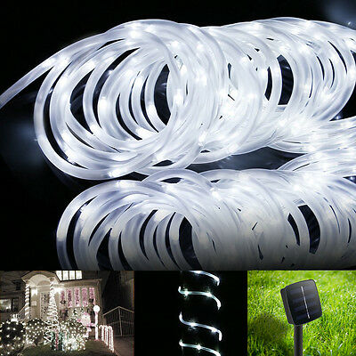 LE 5m Solar Powered LED Strip Light Rope Daylight White Outdoor Garden Christmas