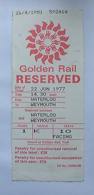 Golden Rail Reserved Seat Label 1977 BR No. 25966/66