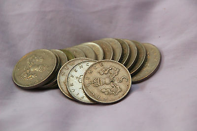 Old large 5p / Five pence coins. Set of 11.