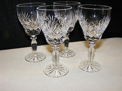 Four Beautiful Lead Crystal Wine Glasses (Unknown Maker) Excellent Condition