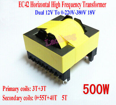 Dual 12V To 0-220V-380V 18V 500W Horizontal High Frequency Transformer Inverter