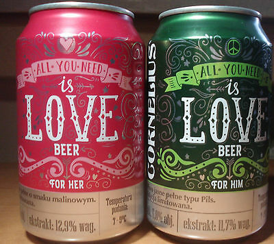 Poland cans beer 2x 330cl Empty Valentine Day