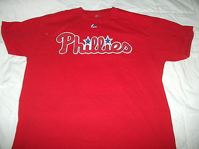 Philadelphia Phillies Tee. Adult L-42 Inches. Majestic Brand. Vg Condition .