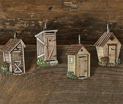 Country Primitive Rustic Resin Outhouse Shower Curtain Hooks Park Designs
