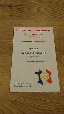France Police v Great Britain Police 1976 Rugby Union Programme