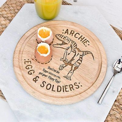 Egg Board Personalised Dinosaur Round Chopping Board/Plate Double Egg Cup