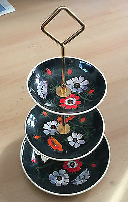 Very Rare French pottery Henriot Quimper hand decorated 3-tier Cake Stand