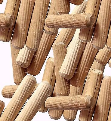10mm x 30mm Wood Dowel Pins, Hardwood Fluted Grooved Plugs, wooden dowels