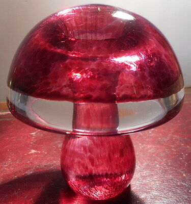 Wedgwood Glass Mushroom In Striped Cranberry Signed On  Base