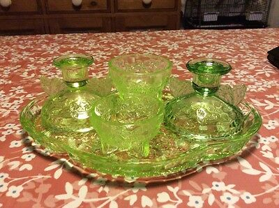 vintage sowerby butterfly green glass dressing table set