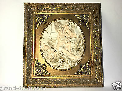 Rare Antique Greek/Roman Alabaster Sculpture Bas Relief Cast Gilded Frame LOT 2