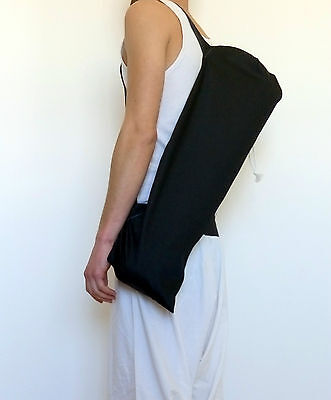 Yoga pilates bag mat carrier strong handmade cotton drill black new