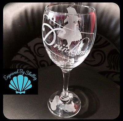Personalised Disney Alice In Wonderland Wine Glass Handmade! Free Name Engraved!
