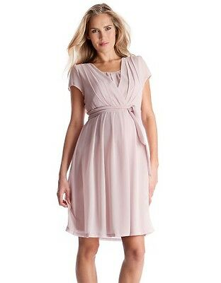 NEW Seraphine Maternity Pleated Chiffon Maternity Nursing Dress (US 4) Blush $95