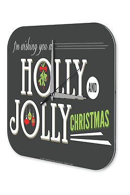 Christmas Retro Wall Clock Vintage  Holly Jolly Christmas Acrylglass