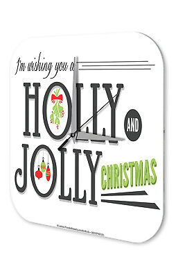 Wall Clock Nostalgic Christmas  Holly Jolly Acrylglass