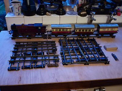 Vintage Hornby O Gauge Clockwork Lms Loco 2180 With Coaches Track