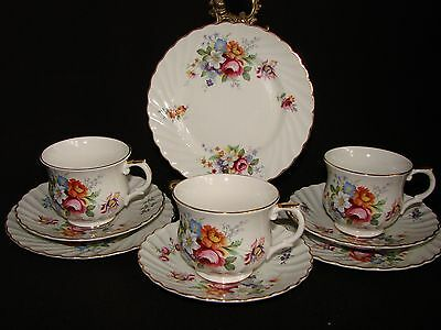 3 x Vintage James Kent Staffordshire Old Foley Floral Trios Cup,Saucer & Plate)