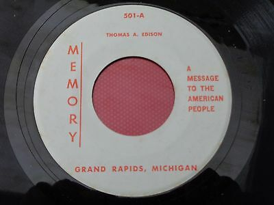 Thomas A. Edison : A Message To The American People : MEMORY : 501