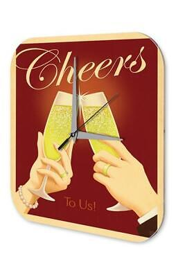 Wall Clock Bar Party Vintage Decoration  cheers champagne glasses Acrylglas