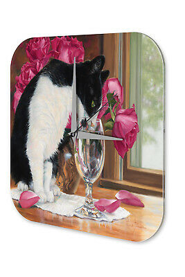 Wall Clock Cat Decoration  Cat drinking from glass Printed Acryl Acrylglass