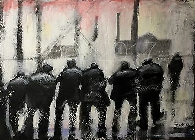 Large Original Mixed media oil painting by Fredi ' working men'  northern art