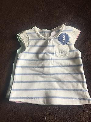 Girls 3 Pack Tops Age Up To One Month BNWT