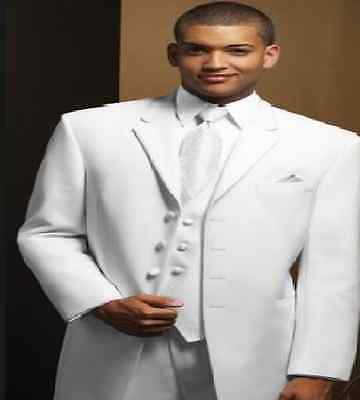 White Men's Wedding Suits Groom Tuxedos Formal Business Party Dinner Suits