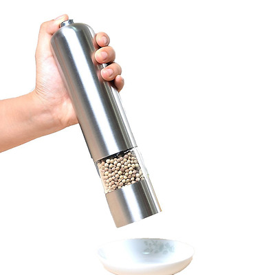 Pococina Stainless Steel Salt and Pepper Mill with Adjustable Grinder (Electric