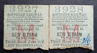 Southern Railway - 2 Severed Half Tickets - Whitechapel to New Eltham