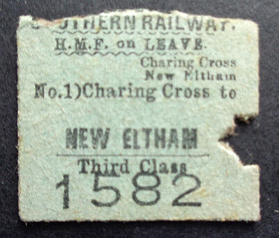 Southern Railway - Severed Half Ticket - Charring Cross to New Eltham - HMF- 195